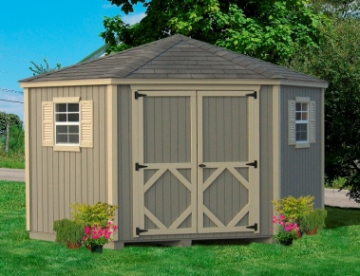 Wood 10 x 10 5 Corner Classic Shed Kit